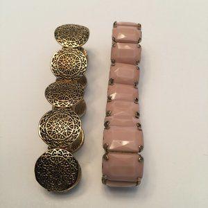 Bundle of Two Stretchy Bracelets Pink Gold Tone